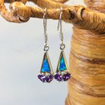 "Amethyst Flower and Blue Opal Earring, Wget 0.20oz, length ""1 1/4"""