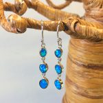 "Triple Stacked Blue Opal Earring, Wget 0.20oz, length ""1 1/2""."