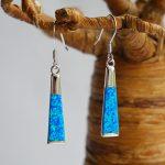 "Blue Opal silver earrings,Long box design. Wget 0.20 oz, length ""1.1/2""."