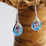 Blue Opal & silver with Amethyst stone,Wget.0.15oz, Length 2cm.